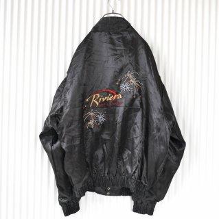 Riviera バック刺繍スタンドカラーサテンブルゾン