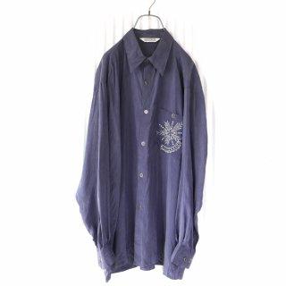刺繍ポケットデザインとろみシャツ