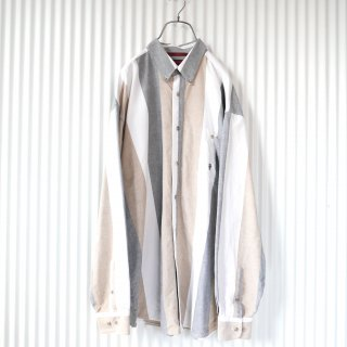 TwentyX ワンポイント刺繍ミルキーストライプB.Dシャツ