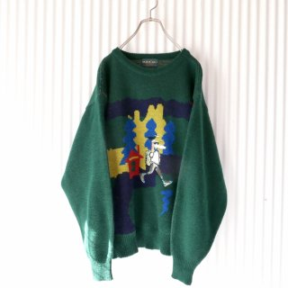 HASH UOMO ワンちゃん刺繍アップリケニット/ITALY