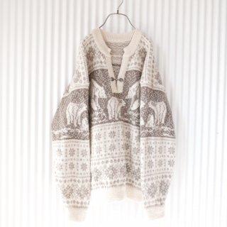 しろくま親子のノルディックセーター/XL