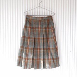 アンティークチェック ボックスプリーツWOOLスカート