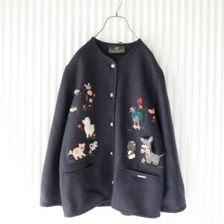 GIESSWEIN 牧場のどうぶつアップリケ ウールジャケット
