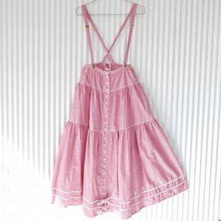PINK HOUSE ロゴリボンあかギンガム吊りスカート