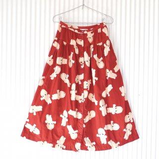 PINK HOUSE キューピー フロントボタンフレアースカート