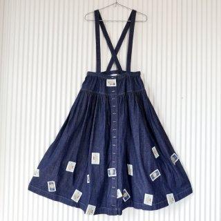 PINK HOUSE レトロくまちゃんワッペン フロントボタン吊りスカート