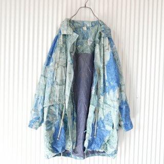 寒色水彩パターンスタンドカラーロングジャケット
