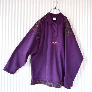 90's フラワー刺繍ハーフボタン襟付きスウェット