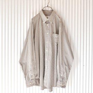 LACOSTE ワニさんワンポイントブラウンギンガムB.Dシャツ