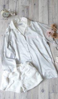 サテンストライプ パジャマシャツ