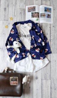 くまちゃんと雪だるま サテンスパジャマシャツ