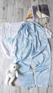 三日月とお星さまのゆるパジャマパンツ