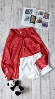 赤いリボンと雪の華 サテンパジャマシャツ