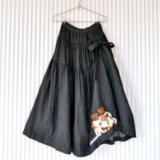 WONDERFUL WORLD ファミリーベア刺繍たくし上げリボンスカート