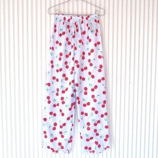 水玉さくらんぼ サテンパジャマパンツ