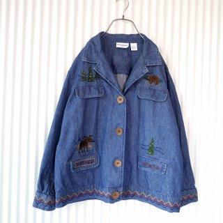 森のくまさんとヘラジカ刺繍 デニムシャツジャケット