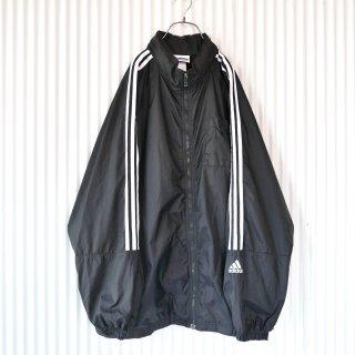 adidas 3ライン×バックロゴ刺繍BIGナイロンジャケット/XL