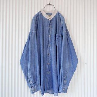 バンドカラー切り替え襟デニムシャツ/XL