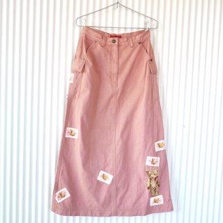 PINK HOUSE くまちゃん刺繍×ワッペンカーゴスカート