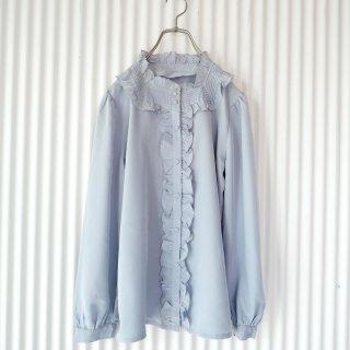 フリルスタンドカラーブラウス/Blue gray