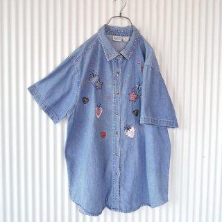 星とハートの刺繍アップリケデニムシャツ/XL