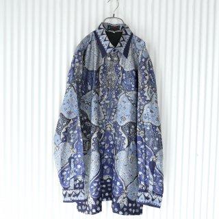 Blue Flower×plant 総柄シャツ