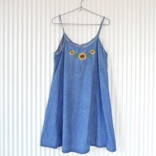ひまわり刺繍 デニムキャミソールワンピース