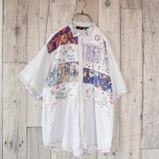 刺し子の小鳥とパッチワークのシャツ