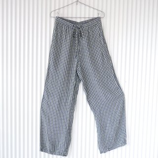 match ミントチェック eazy wide pants