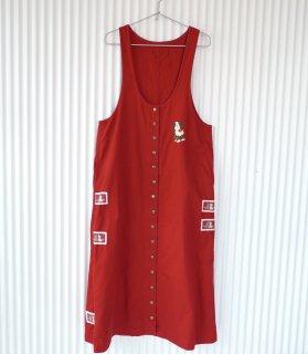 PINK HOUSE ワンちゃん刺繍×ワッペン フロントボタンジャンパースカート