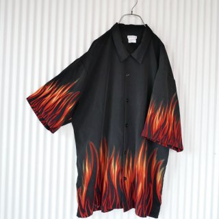 Black x orange fire pattern shirt
