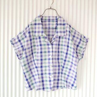 マドラスチェック フレンチスリーブシャツ