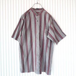 バンドカラー マルチストライプHempシャツ