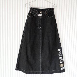 PINK HOUSE 縦ロゴデニムロングスカート/Black