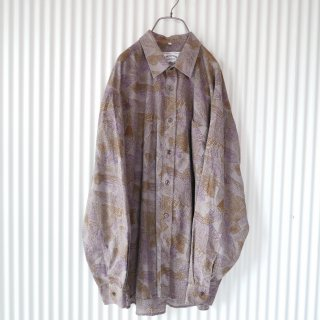 80's EURO Dark botanical pattern shirt