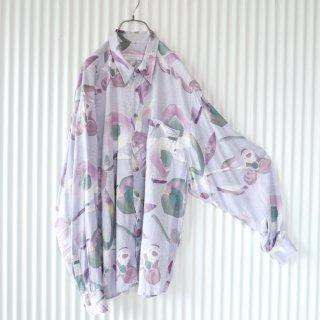 CLUB D'AMINGO 水彩フラワーアンティークシャツ