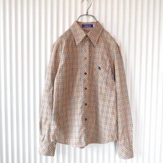 Burberrys BLUE LABEL ホースマーク刺繍チェックシャツ