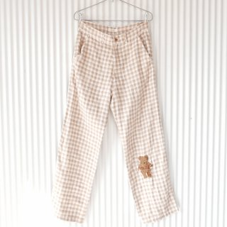 PINK HOUSE くまちゃん刺繍 ガーゼパンツ/ミルクティベージュ