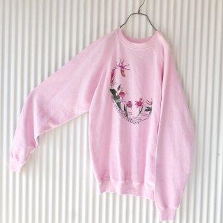 Hanes ピンクの蘭のスウェット