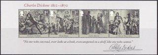 イギリスの切手・チャールズ・ディケンズ生誕200年・小型シート・2012