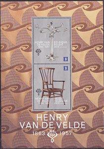 ベルギー・アンリ・ヴァン・デ・ヴェルデ誕生150年・小型シート切手・2013