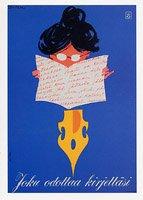 フィンランド郵便博物館・ポストカード・ペンと女の子