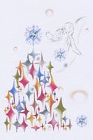 Kaori Ishizaka・クリスマスポストカード・天使とツリー