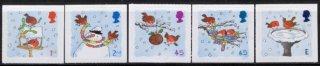 イギリス・クリスマス・雪と小鳥・切手・2001(5)セルフ糊