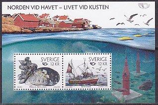 スウェーデン・ノルデン・海辺・小型シート切手・2010