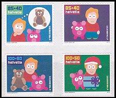 スイス・冬季慈善・子どもたちへのお金教育・切手・2010(4)セルフ糊