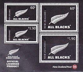 ニュージーランドの切手・オールブラックス・小型シート・2010