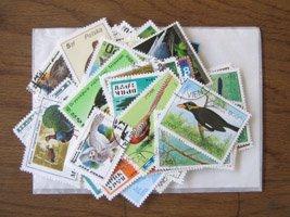 鳥の切手・パケット・約100枚