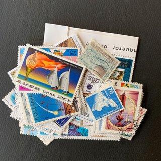 船のパケット切手・約100枚(小型も含む)