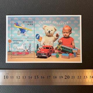 スウェーデンの切手・ヨーロッパ・昔のおもちゃ・小型シート・2015